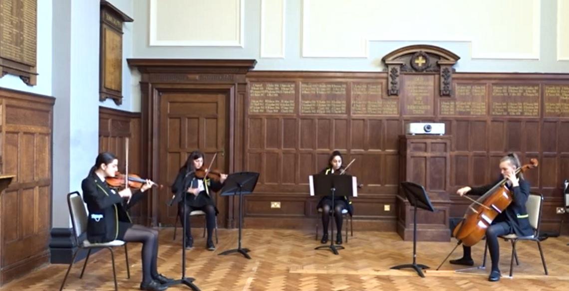 String Quartet perform in the Hallam Hall