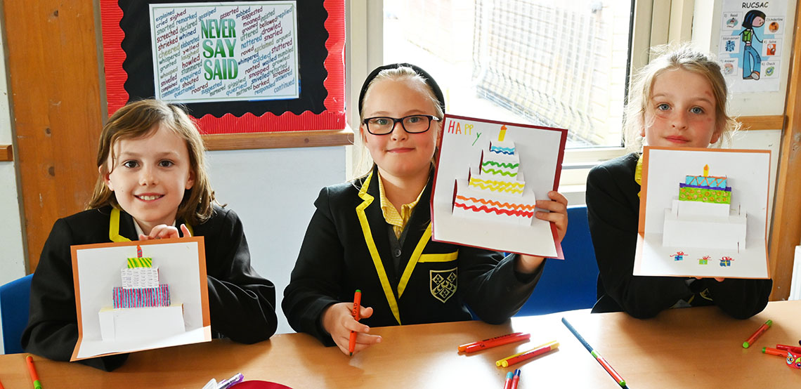 Make It Club pupils with their pop up cards