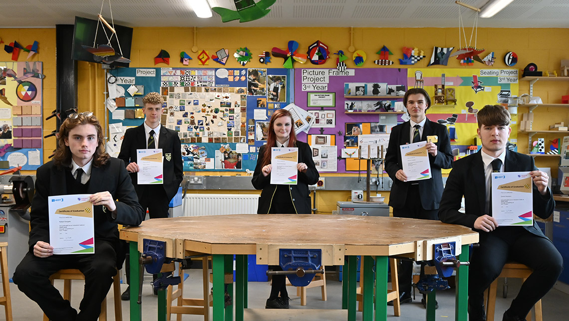 Students with their Industrial Cadets Gold Project certificates